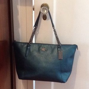 Coach Metallic Teal Leather Chain Strap Large Tote